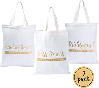 Bridesmaid Bags | Bridesmaid Tote Bags | Maid of Honor Tote Bag | Bride Canvas Bag (7 Pack)