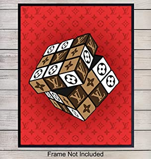 Louis Vuitton Fashion Designer Rubiks Cube Pop Art Print, Wall Art Poster - Unique Home Decor for Bedroom, Office, Teens Room - Gift for Women, Fashionista, LV Fans - 8x10 Photo Unframed