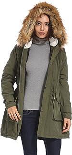 معطف باركا سميك للنساء من كوزين مع غطاء رأس من الفرو قابل للإزالة معاطف دافئة باركاس مع سترات من الفرو الصناعي