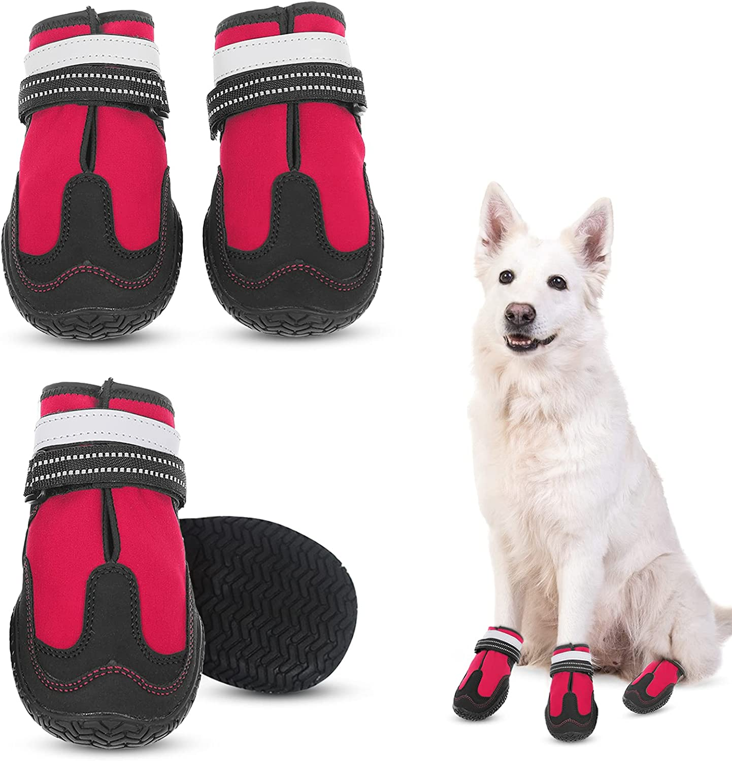 MORVIGIVE Seattle Mall Winter Dog Shoes for Reflective Over item handling Medium Large Dogs