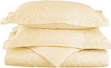 مزيج القطن 600 خيط، طقم غطاء لحاف مزدوج من قطعتين ناعم مقاوم للتجاعيد، بيزلي، عاجي