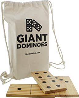 Get Out! Giant Wooden Dominoes 28-Piece Set with Bag – Jumbo Natural Wood & Black Numbers – Kids Adults Outdoor Games