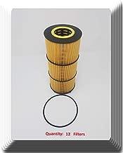 57909v [12 Filters ] V-Pro H.D Engine Oil Filter Fits: Freightliner Western Star Detroit Diesel Mercedes P7505 84909 A4721800109 A4721840225 A4721841325 A4731800109 P551005 LF17474 LF673 (12)
