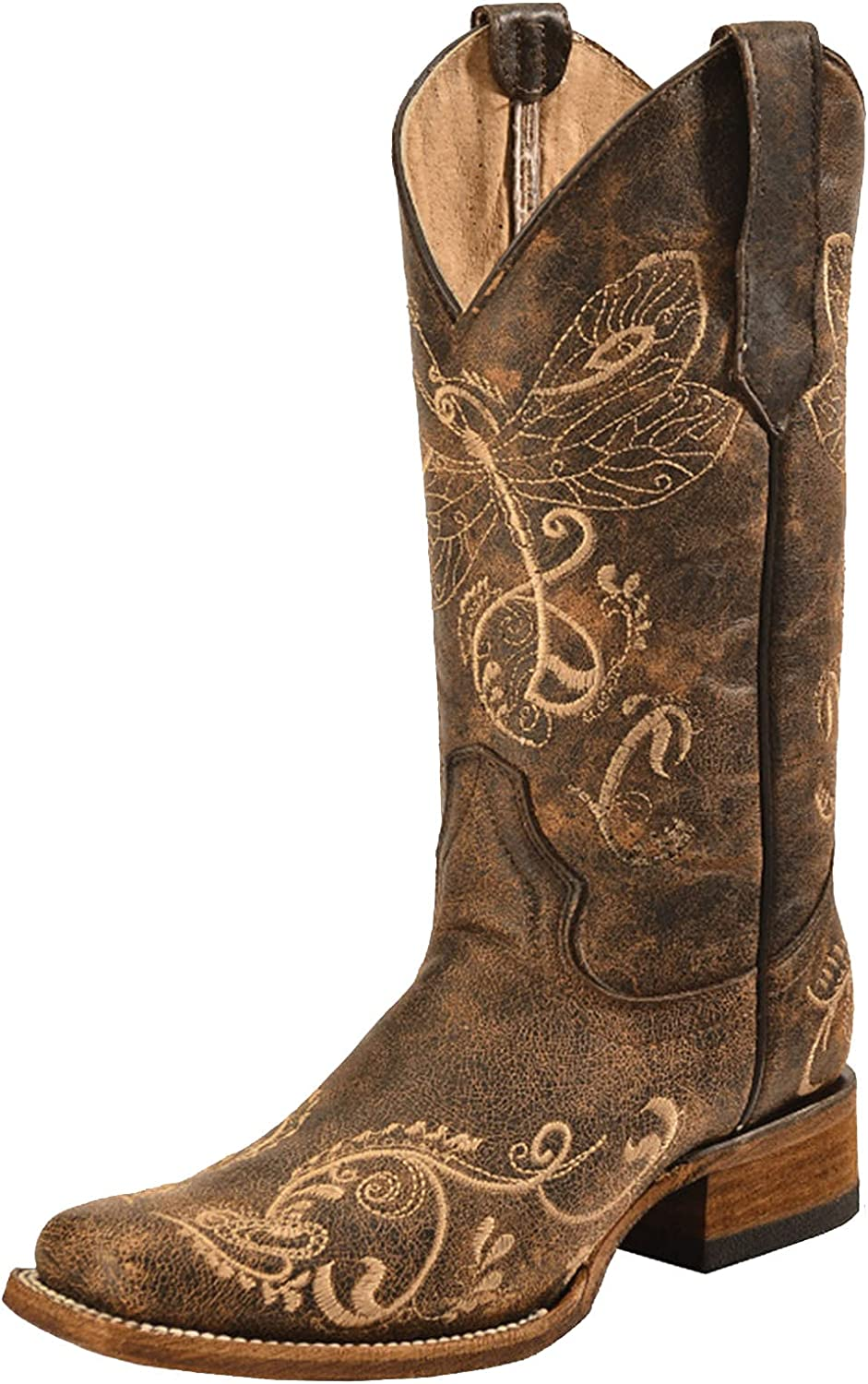 Erocalli Western Boots Women Cowgirl Cowboy Riding Horse Boots Chunky Heel Mid Claf Boot Square Toe Embroidery Buckle English Riding Equestrian Boots