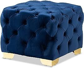 Baxton Studio Ottomans, One Size, Royal Blue/Gold