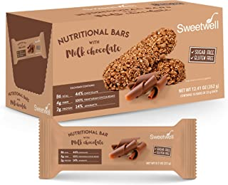 Sweetwell - Healthy Grains and Chocolate Bars - Superior Taste - Sugar Free - Gluten Free - Milk Chocolate - With Amaranth - 0.7 oz - Pack of 16