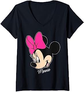 Mujer Disney Mickey And Friends Minnie Big Face Signature Camiseta Cuello V