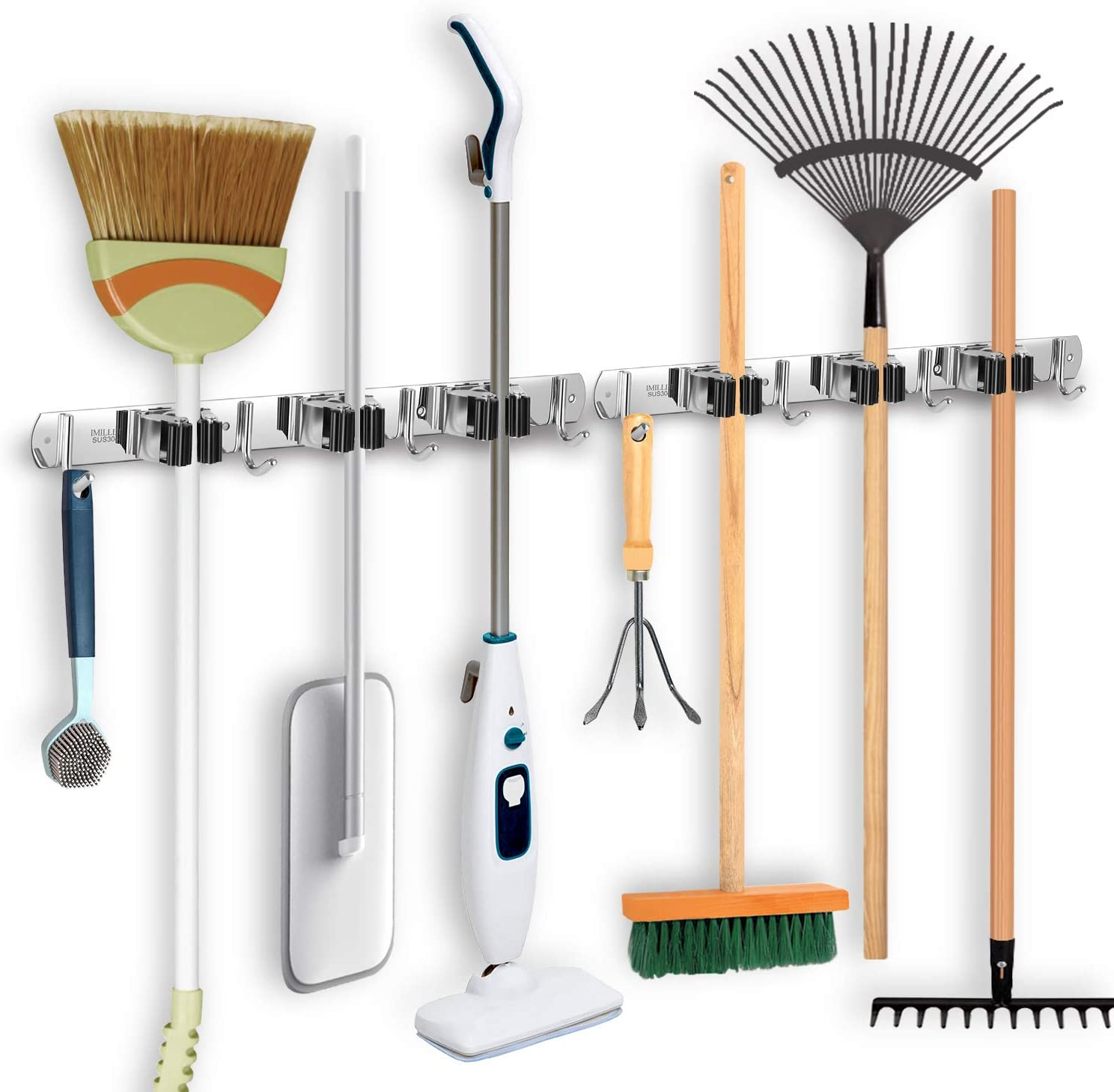 IMILLET Broom and Mop Holder Wall Mounted Broom Holder Stainless Steel Mop Holder Self Adhesive Heavy Duty Hooks Storage Organizer for Laundry Room Garden Garage Closet Kitchen (2 Pack)