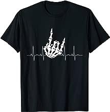 Devil Horns ECG My heart beats Heavy Metal Rock on T-Shirt