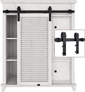 EaseLife 3.3 FT Cabinet Mini Sliding Barn Door Hardware Kit,Ultra Sturdy,Heavy Duty,Slide Smoothly Quietly,Apply for Wardrobe Window TV Stand Closet(No Cabinet)(3.3FT Track Single Door Kit)