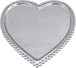 MARIPOSA Beaded Heart Statement Tray, Silver