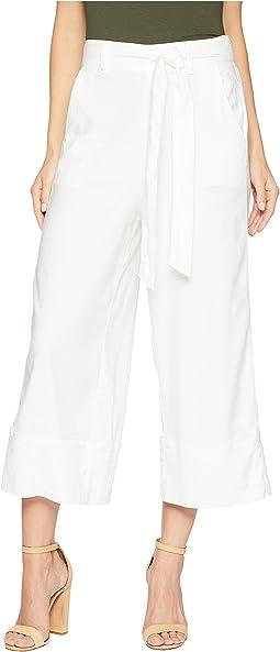 Linen Slub Belted Crop Pant