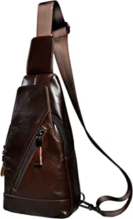 Le'aokuu Mens Fashion Leather Casual Sling Bag Mini Best Travel Cycling Hiking Crossbody Chest Bag Rig One Shoulder Strap Bag Pack Daypack For Men