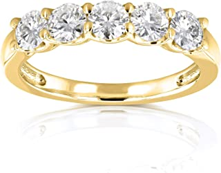 Kobelli Five Stone 4/5 Carat TGW Round Brilliant Near Colorless Moissanite (HI) Bridal Wedding Band in 14k Yellow Gold