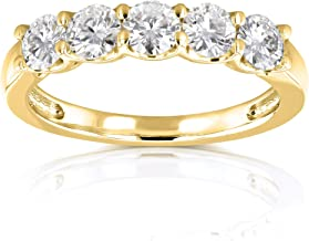 Kobelli Five Stone 4/5 Carat TGW Round Brilliant Near Colorless Moissanite (HI) Bridal Wedding Band in 14k Yellow Gold