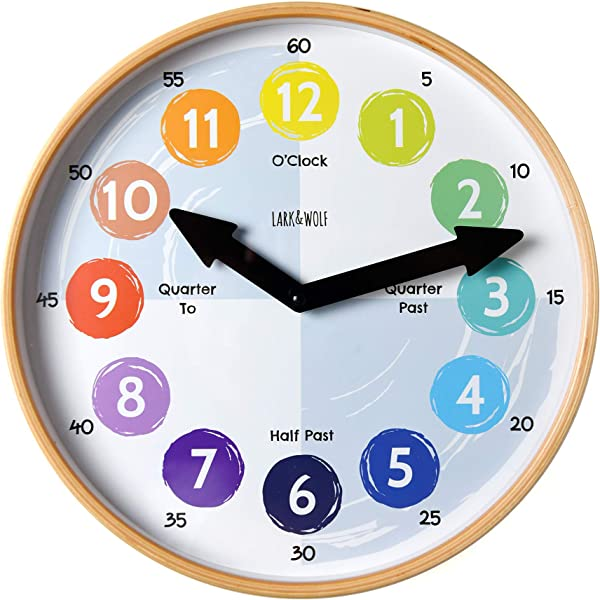 Telling Time Teaching Clock For Kids Learn To Tell The Time 12 Wooden Frame Analog Silent Nonticking Kids Room Playroom Decor Classroom Clock Homeschool Learning Resource Learning Time Resource