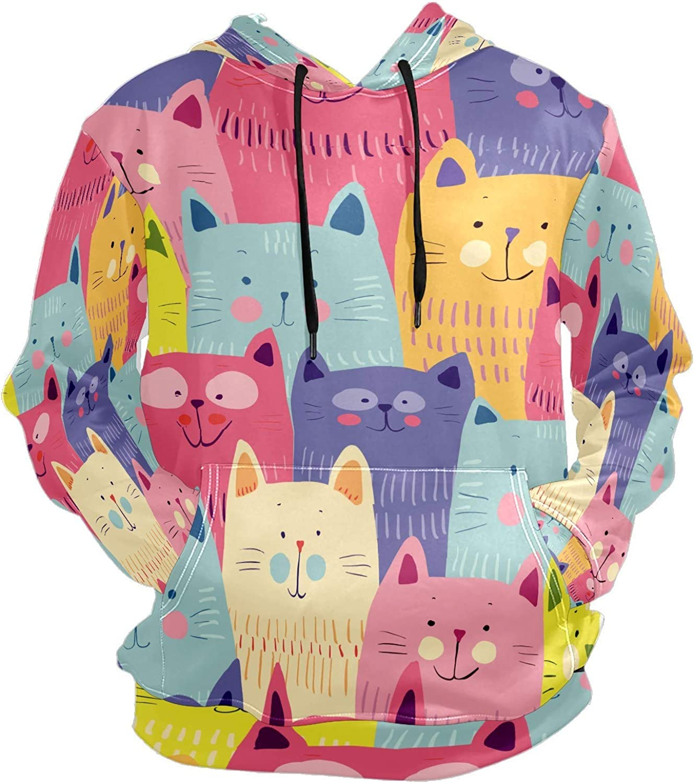 Men's Sport Hoodie Colorful Funny Cat Cute Cartoon Big and Tall Hoodies for Men Women Oversized Hooded Sweatshirt Hip Hop Pullover Hoodie Midweight Hood for Boys Girls