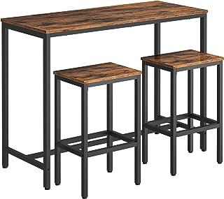HOOBRO Lot Table et Chaises de Bar, Table Haute de Bar Mange-Debout, Table de Bar avec 2 Tabourets de Style Industriel, av...
