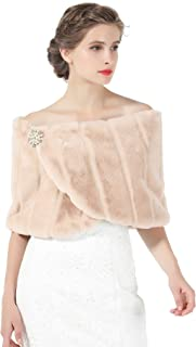 Bridal Shawl Wedding Faux Fur Shawl Bridesmaids Wrap Cover Up Stole