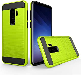 Protective Case Compatible with Samsung Compatible Samsung Galaxy S9+ Brushed Texture Dropproof Protective Back Cover Case Phone case (Color : Green)