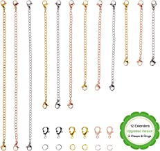 D-buy Upgraded Version 12 Pcs Necklace Extenders Stainless Steel Extender Chains with Extra 6 Clasps & 6 Jump Rings, 4 Length, 2'' 3'' 4'' 6'' (Set of 12 Pcs, 4 Gold, 4 Silver, 4 Rose Gold)