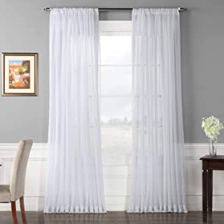 Half Price Drapes SHCH-VOL1-108-SLDW Doublewide Voile Poly Sheer Curtain, Solid White
