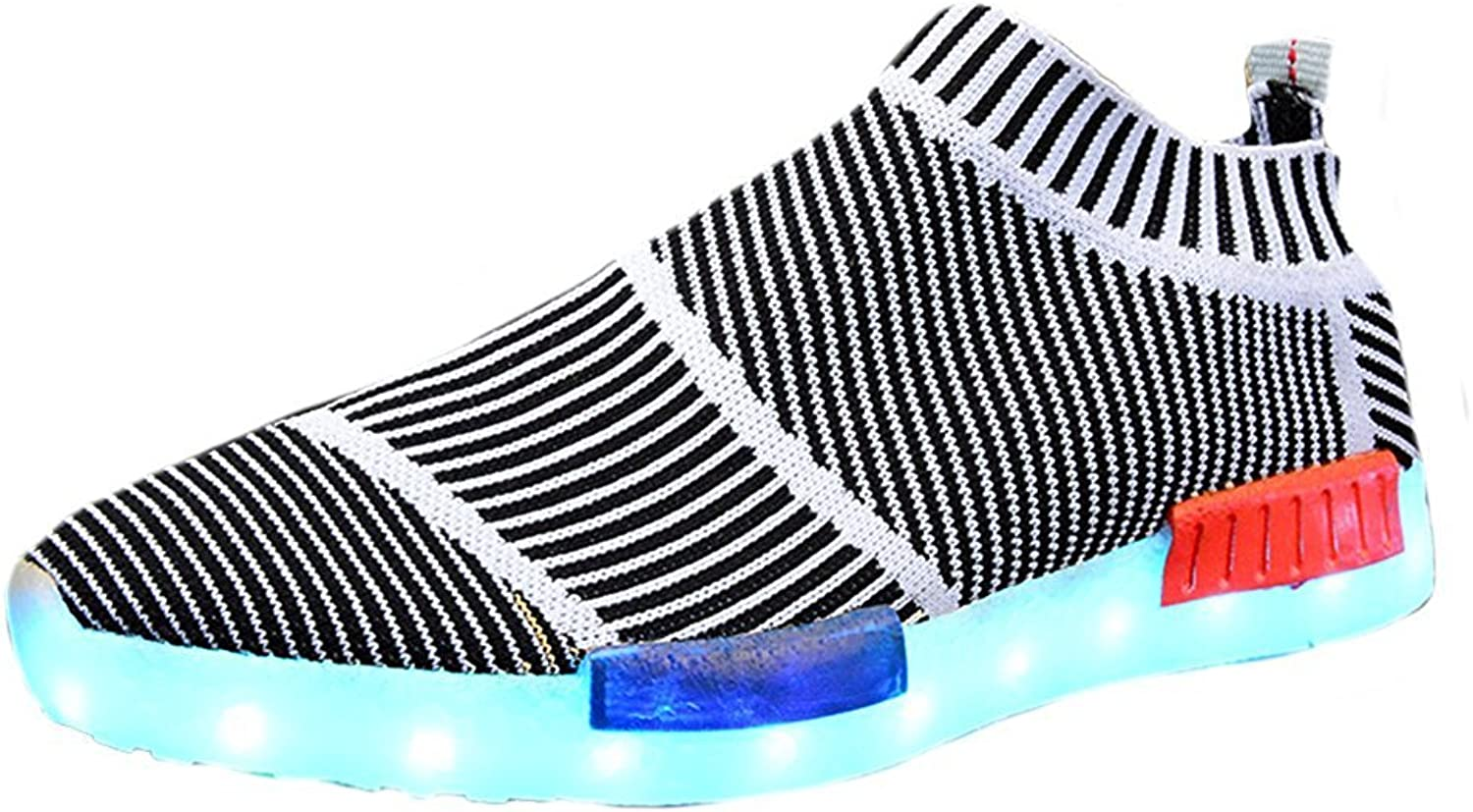 Xiaoyang Men's Women's LED Knit Sneakers Fashion USB Charging Light shoes 7 colors for Halloween
