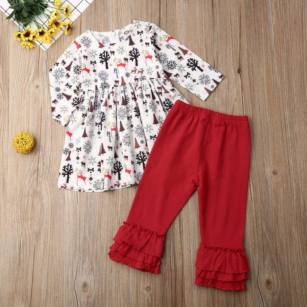 Christmas Toddler Baby Girl Outfit Set Kids Princess Dress Pants Clothes Skirt Ruffle with Santa Reindeer Tree Clothing Sets