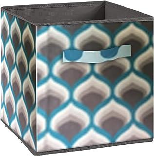 Alsapan Compo Boîte de Rangement Tiroir avec Poignée en Tissu Bleu et Marron Motifs 70's 27 x 27 x 28 cm