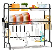 iSPECLE 2 Tier Large Premium 201 Stainless Steel Dish Rack with Utensil Holder Hooks Stable Bend Foot