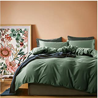 Solid Color Egyptian Cotton Duvet Cover Luxury Bedding Set High Thread Count Long Staple Sateen Weave Silky Soft Breathable Pima Quality Bed Linen (King, Woodland Green)