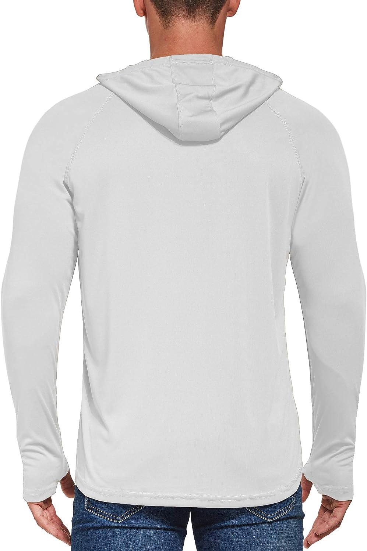 Sun Protection Hoodie Shirt with Mask Long Sleeve UV Fishing Workout Hiking Thumbholes Shirt Ogeenier Mens UPF 50