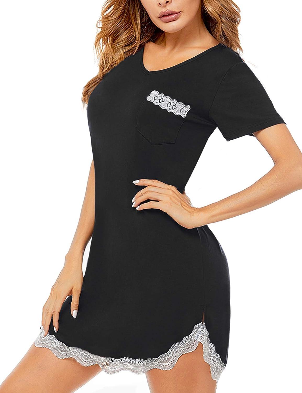 SWOMOG Womens Nightgown Short Sleeve Sleep Shirt Dress Sexy V Neck Lace Trim Soft Night Shirts