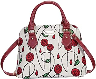 Charles Rennie Mackintosh Rose Art Nouveau Top-Handle Handbag Purse for women/Carry-On Bag for Women with Removable Strap by Signare/CONV-RMSP