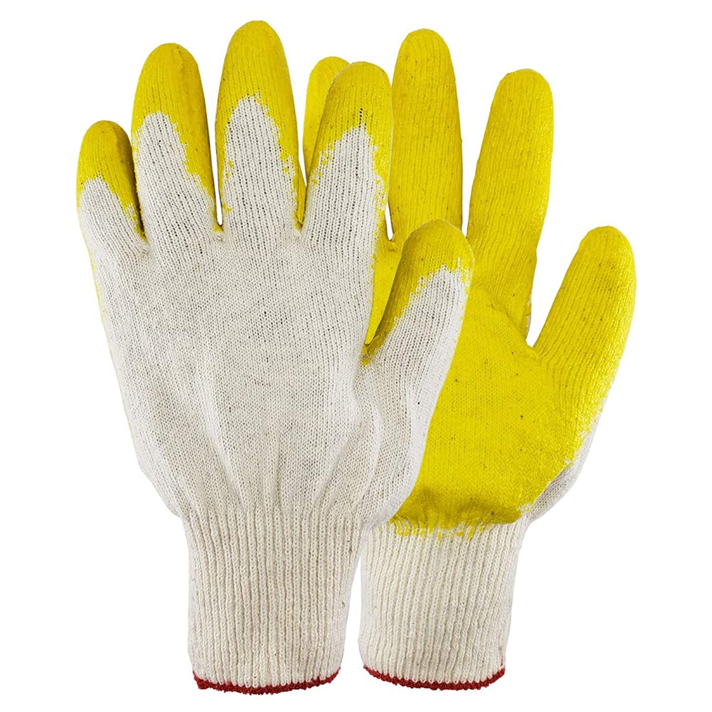 10 Pairs, The Elixir String Knit Palm, Yellow Latex Dipped Nitrile Coated Work Gloves for General Purpose, Safety Working Gloves, Made in Korea