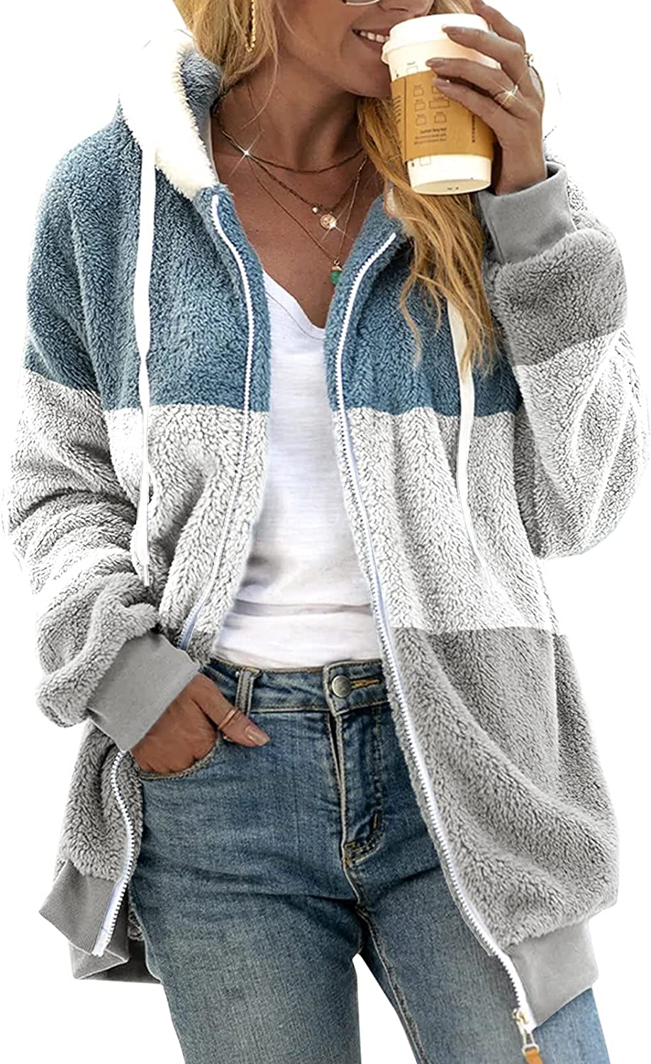 Xinantime Women's Hooded Faux Wool Coat Zipper Up Striped/Solid Color Long Sleeve Outwear Ladies Jackets with Pocket