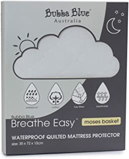 Bubba Blue Breathe Easy Waterproof Quilted Moses Basket Mattress Protector, White