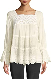Johnny Was Women's Alora Lace-Trim Tiered Blouse, Ecru, Small