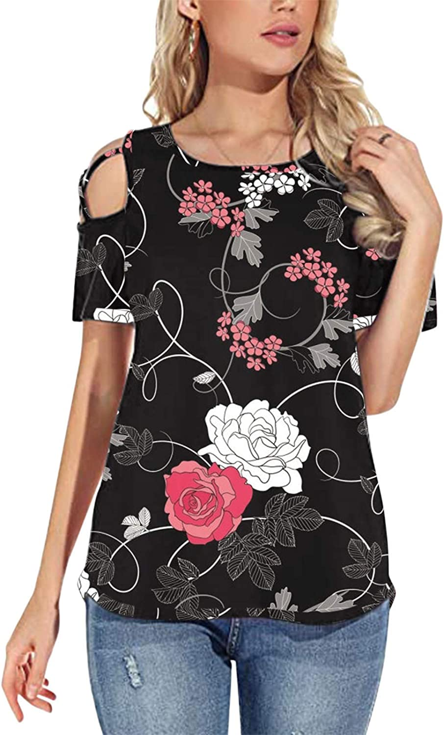 Womens Summer T Shirts Short Sleeve Tunic Strappy Cold Shoulder Tops,Off The Shoulder Tops for Women