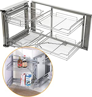 Kitchen Hardware Collection 34.6 Inch Blind Corner Organizer Cabinet Pull Out Sliding Organizer 2 Tier Kitchen Dish Spice Pan Rack Organizer 33.9