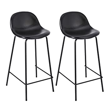 CangLong Faux Leather Back and Footrest Modern Counter Stool Chair Height for Pub Coffee Home Dinning Kitchen, Set of 2, Black