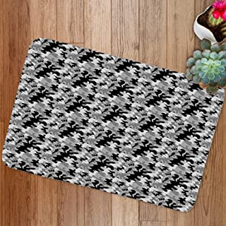 GULTMEE Doormat Mat, Stain Like Camouflage Pattern in Gloomy Greyscale Tones, Plush Bathroom Decor Mat with Non Slip Backing, 23.6 W X 15.7 Inches