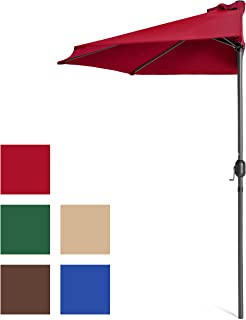 Best Choice Products 9ft Steel Half Patio Umbrella for Backyard, Deck, Garden w/Crank Mechanism, UV- and Water-Resistant Fabric - Red