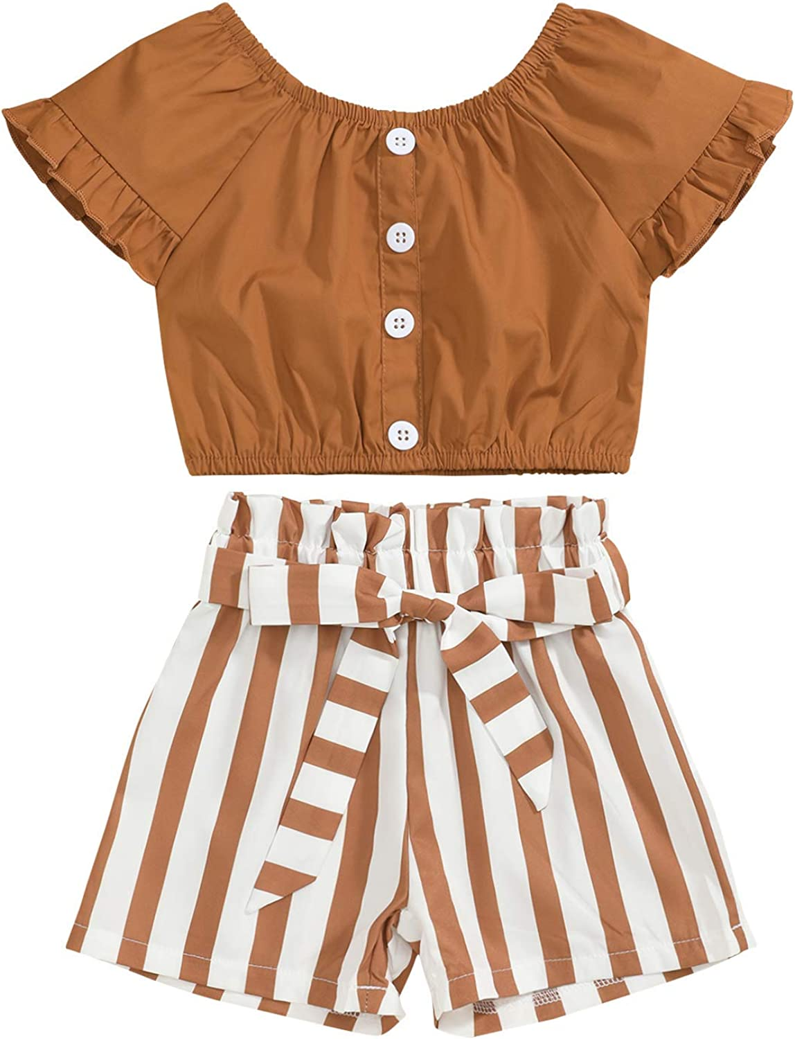 Toddler Kids Baby Girl Clothes Outfit Set Ruffle Sleeve Solid Color Tops Striped Shorts Summer Clothes for Little Girl