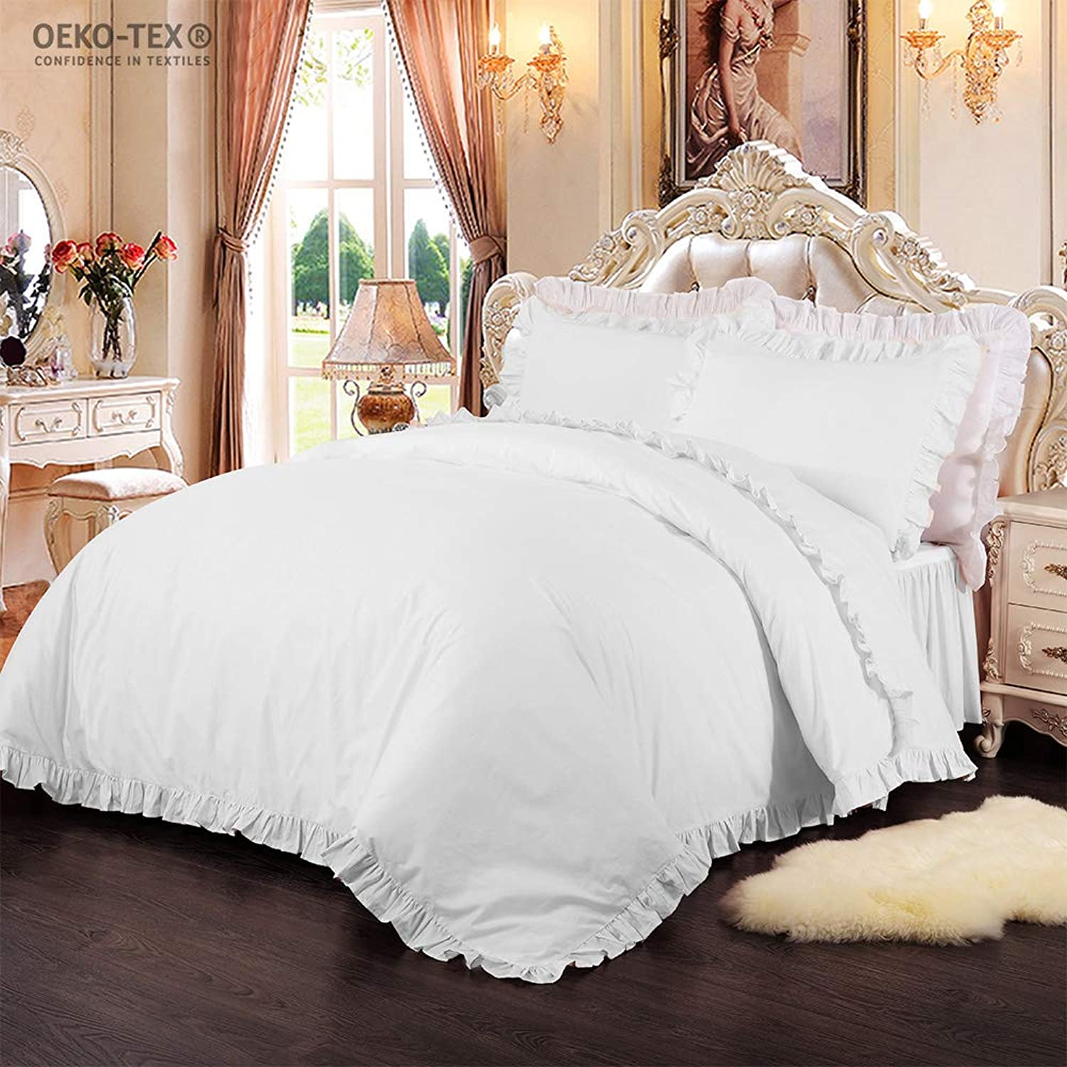 Simple&Opulence 100% Cotton Percale 250TC Plain Flouncing Girl Bedding Set Queen Twin Quilt King Duvet Cover Set Including 1 Duvet Cover and 2 Pillowcases (White, King)