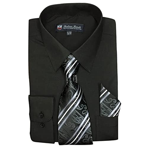 544d9bae Fortino Landi Men's Long Sleeve Dress Shirt With Matching Tie And  Handkerchief