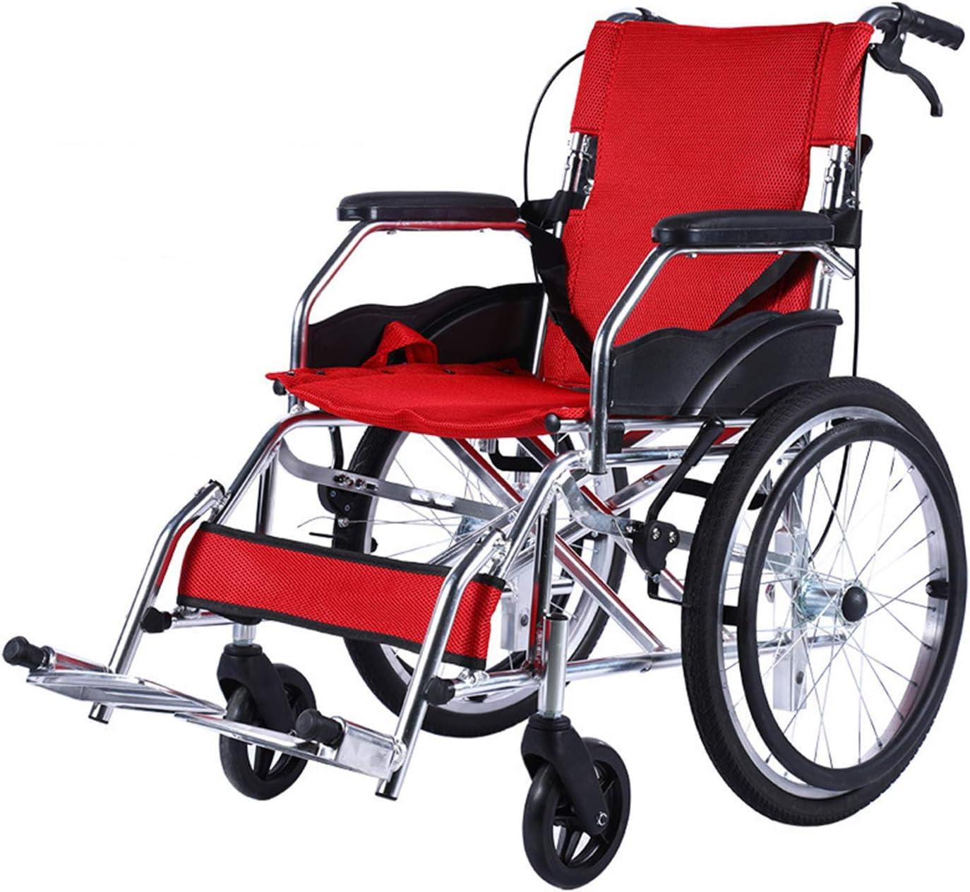 Unbne Trolleys portátiles para Las Personas Mayores Plegables para sillas de Ruedas Drive Medical Lightweight Acero Transporte Silla de Ruedas Anciana Discapacitada Scooter Luz Sillas de Ruedas,B