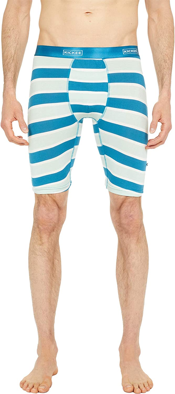 KICKEE Men's Print Long Boxer Brief Underwear with Flytop, Lightweight Mens Boxers