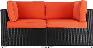 Kinbor 2 PCs Outdoor Patio Loveseat, Garden PE Rattan Wicker Furniture Sectional Sofa w/Orange Cushions