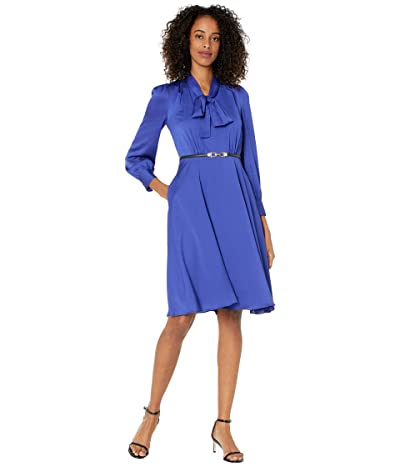Tahari by ASL Long Sleeve Hammered Satin Tie Neck Belted Dress (Blue Iris) Women